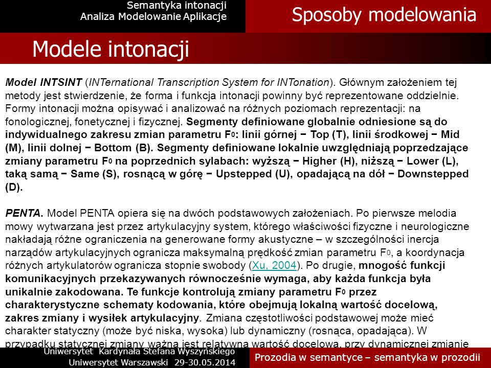 Semantyka intonacji Modele intonacji Model Tilt.