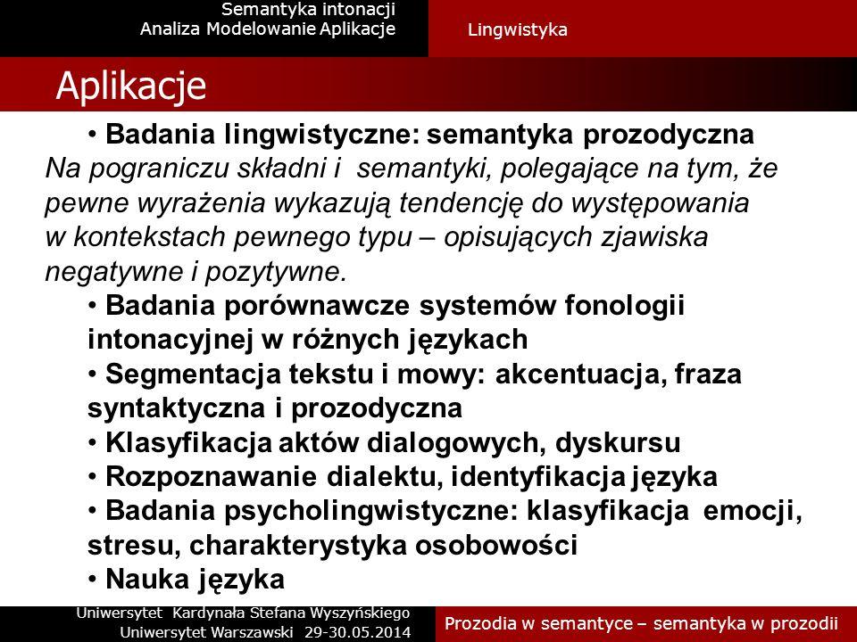 Modelowanie intonacji polskiej Semantyka intonacji Modele intonacji Prozodia w semantyce – semantyka w prozodii Przebiegi opadającePrzebiegi rosnacePrzebiegi złożonePrzebiegi równe H_H : 879 H_H.