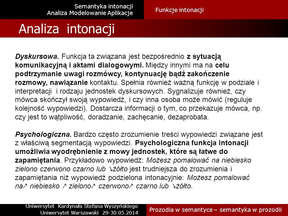 Analiza ISC ModelFunkcje intonacji Semantyka intonacji Analiza intonacji Semantyczna.