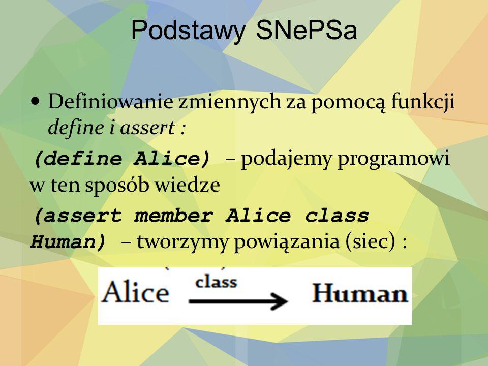 Podstawy SNePSa Definiowanie zmiennych za pomocą funkcji define i assert : (define Alice) – podajemy programowi w ten sposób wiedze (assert member Ali