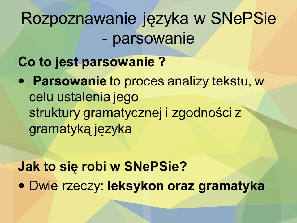 Rozpoznawanie języka w SNePSie - parsowanie Co to jest parsowanie ? Parsowanie to proces analizy tekstu, w celu ustalenia jego struktury gramatycznej