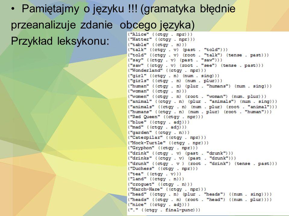 Pamiętajmy o języku !!! (gramatyka błędnie przeanalizuje zdanie obcego języka) Przykład leksykonu: