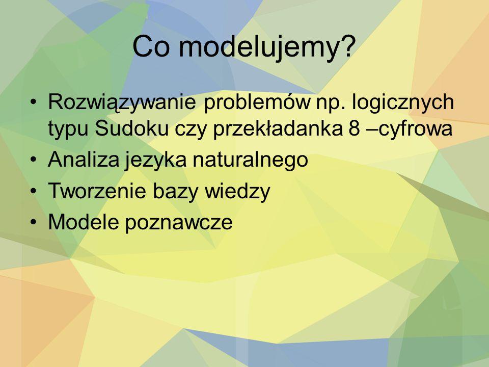 Co modelujemy? Rozwiązywanie problemów np. logicznych typu Sudoku czy przekładanka 8 –cyfrowa Analiza jezyka naturalnego Tworzenie bazy wiedzy Modele