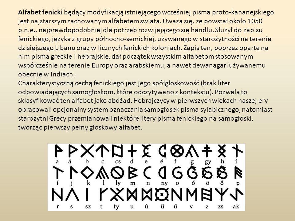 Alfabet fenicki będący modyfikacją istniejącego wcześniej pisma proto-kananejskiego jest najstarszym zachowanym alfabetem świata. Uważa się, że powsta