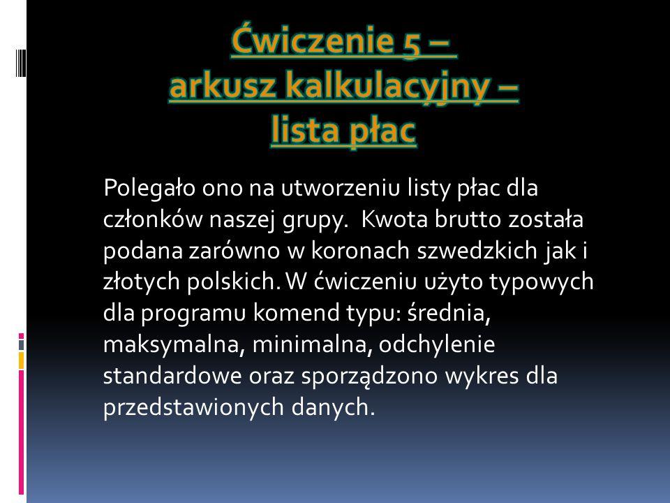 Polegało ono na utworzeniu listy płac dla członków naszej grupy. Kwota brutto została podana zarówno w koronach szwedzkich jak i złotych polskich. W ć