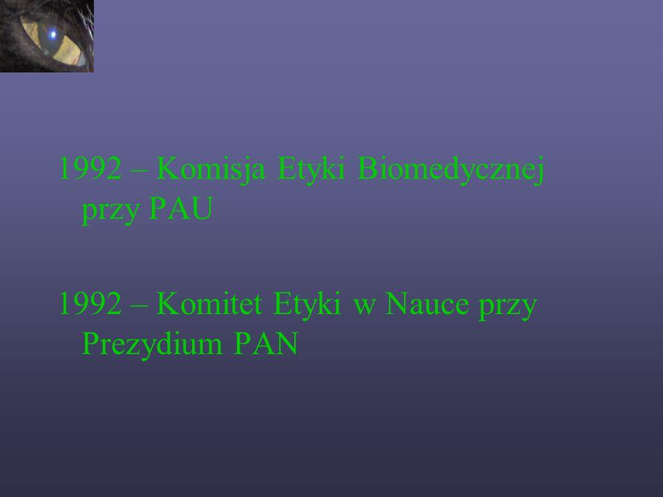 1985 – Światowy Ruch na rzecz odpowiedzialności moralnej w nauce, Paryż 1986 – Joseph and Rosa Kennedy Intitute for the study of human reproduction and bioetics, Waszyngton