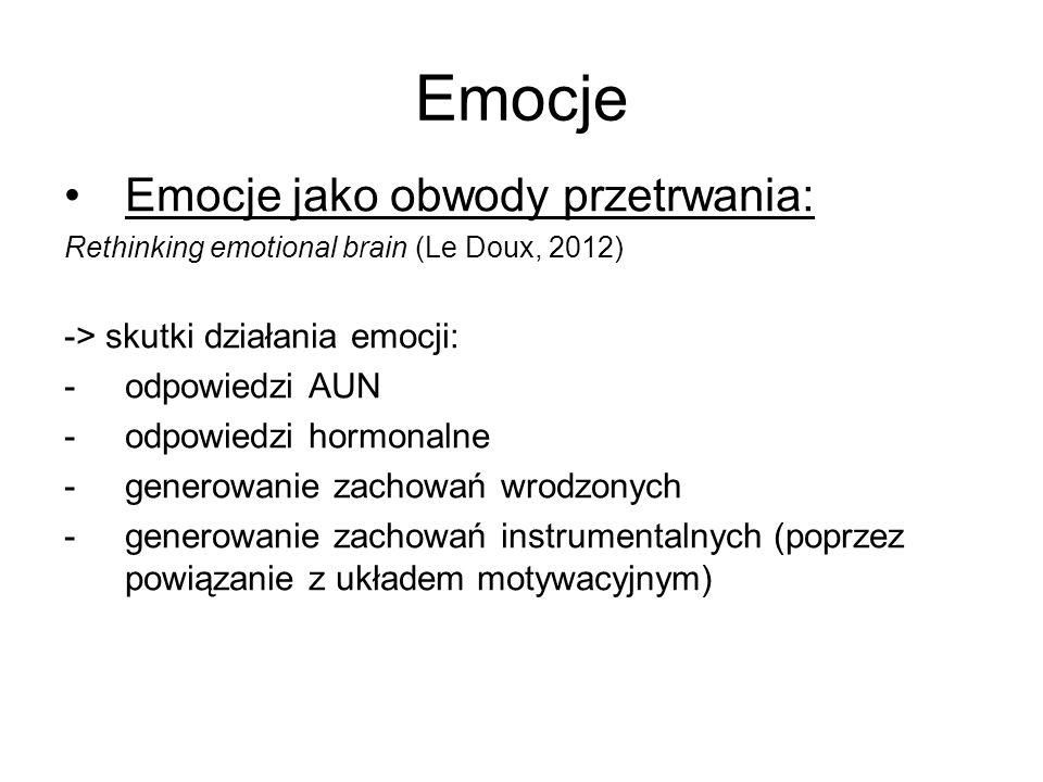 Emocje Emocje jako obwody przetrwania: Rethinking emotional brain (Le Doux, 2012) -> skutki działania emocji: -odpowiedzi AUN -odpowiedzi hormonalne -