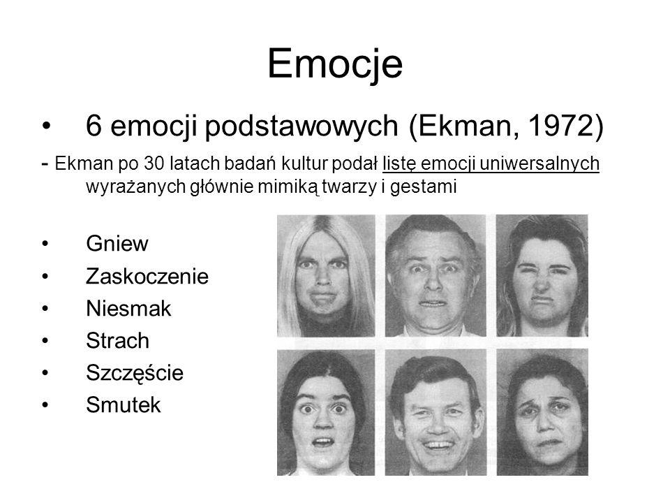 Emocje 6 emocji podstawowych (Ekman, 1972) - Ekman po 30 latach badań kultur podał listę emocji uniwersalnych wyrażanych głównie mimiką twarzy i gesta