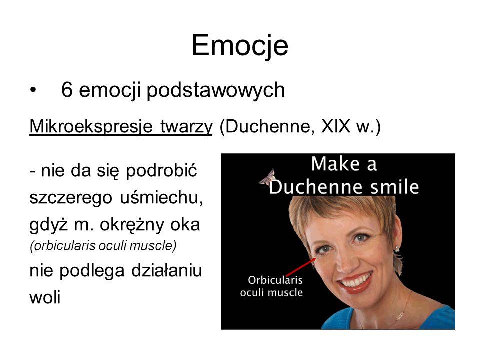 Emocje 6 emocji podstawowych Mikroekspresje twarzy (Duchenne, XIX w.) - nie da się podrobić szczerego uśmiechu, gdyż m. okrężny oka (orbicularis oculi