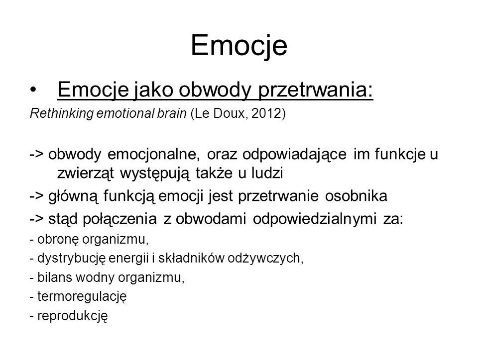 Emocje jako obwody przetrwania: Rethinking emotional brain (Le Doux, 2012) -> obwody emocjonalne, oraz odpowiadające im funkcje u zwierząt występują t