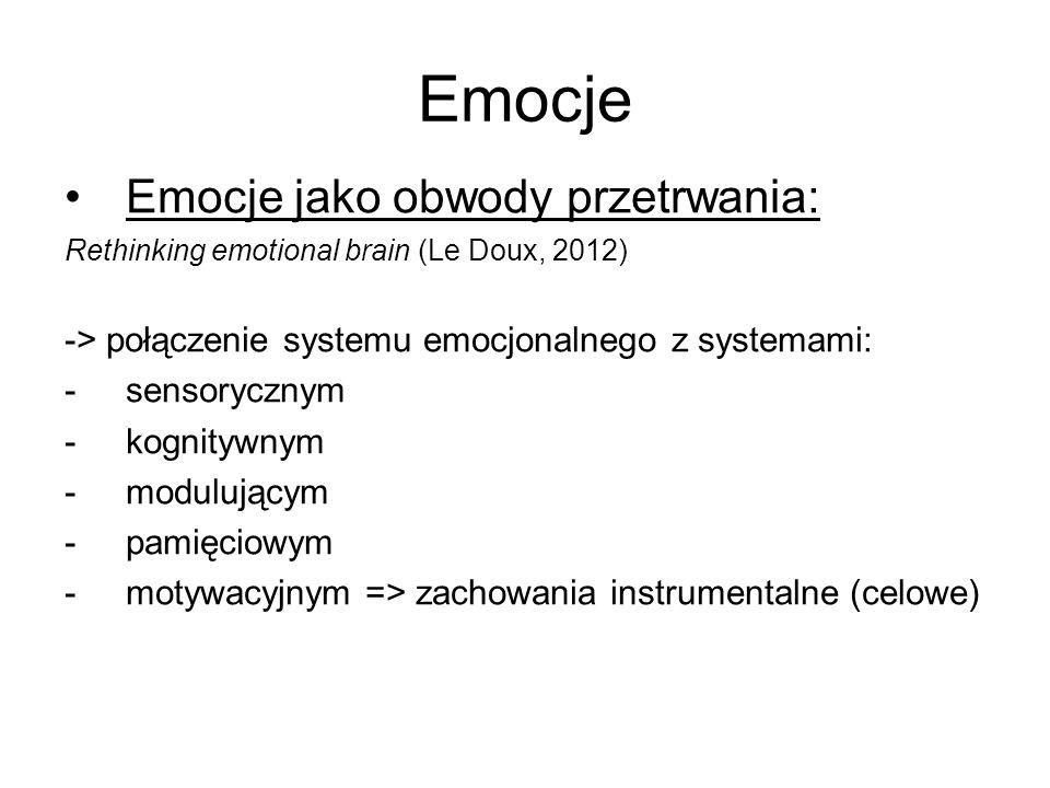Emocje Emocje jako obwody przetrwania: Rethinking emotional brain (Le Doux, 2012) -> połączenie systemu emocjonalnego z systemami: -sensorycznym -kogn