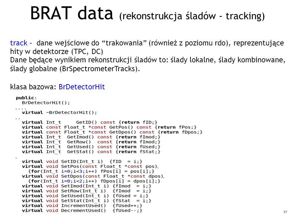 17 BRAT data (rekonstrukcja śladów - tracking) track – dane wejściowe do trakowania (również z poziomu rdo), reprezentujące hity w detektorze (TPC, DC) Dane będące wynikiem rekonstrukcji śladów to: ślady lokalne, ślady kombinowane, ślady globalne (BrSpectrometerTracks).