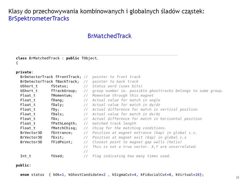 21 Klasy do przechowywania kombinowanych i globalnych śladów cząstek: BrSpektrometerTracks BrMatchedTrack