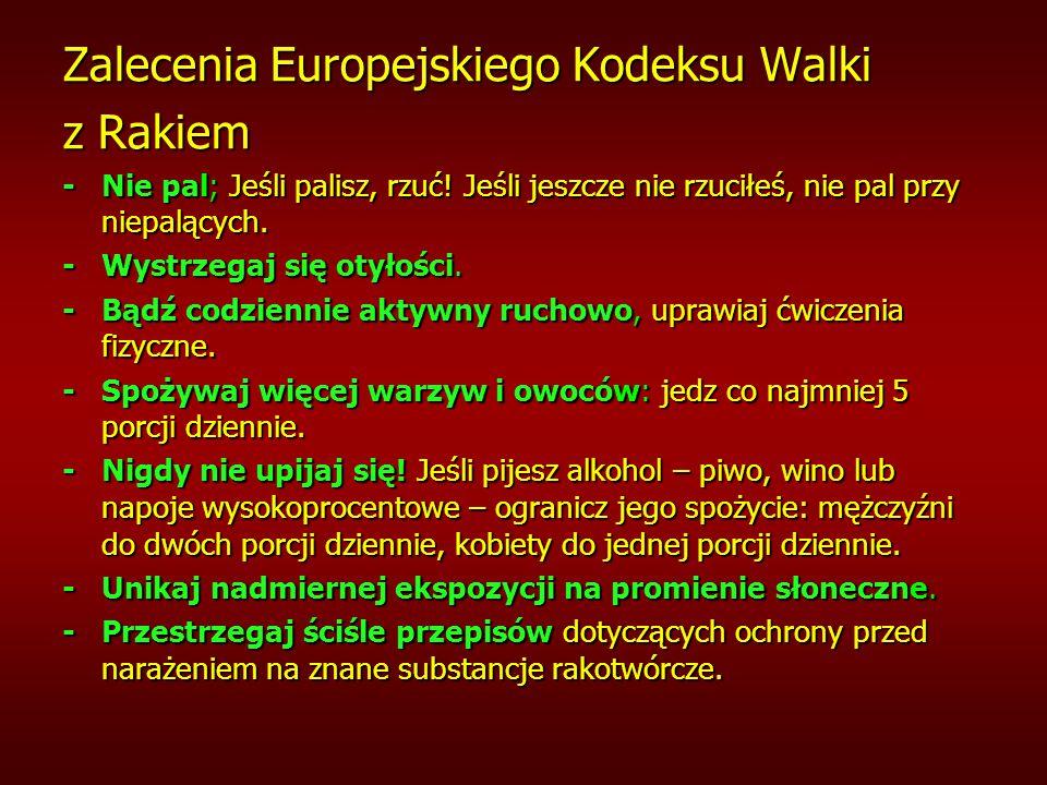 Zalecenia Europejskiego Kodeksu Walki z Rakiem - Nie pal; Jeśli palisz, rzuć.