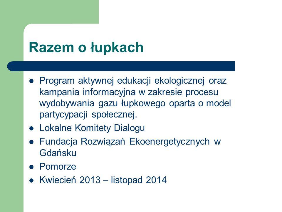 Razem o łupkach Program aktywnej edukacji ekologicznej oraz kampania informacyjna w zakresie procesu wydobywania gazu łupkowego oparta o model partycy