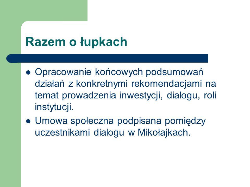 Razem o łupkach Opracowanie końcowych podsumowań działań z konkretnymi rekomendacjami na temat prowadzenia inwestycji, dialogu, roli instytucji.