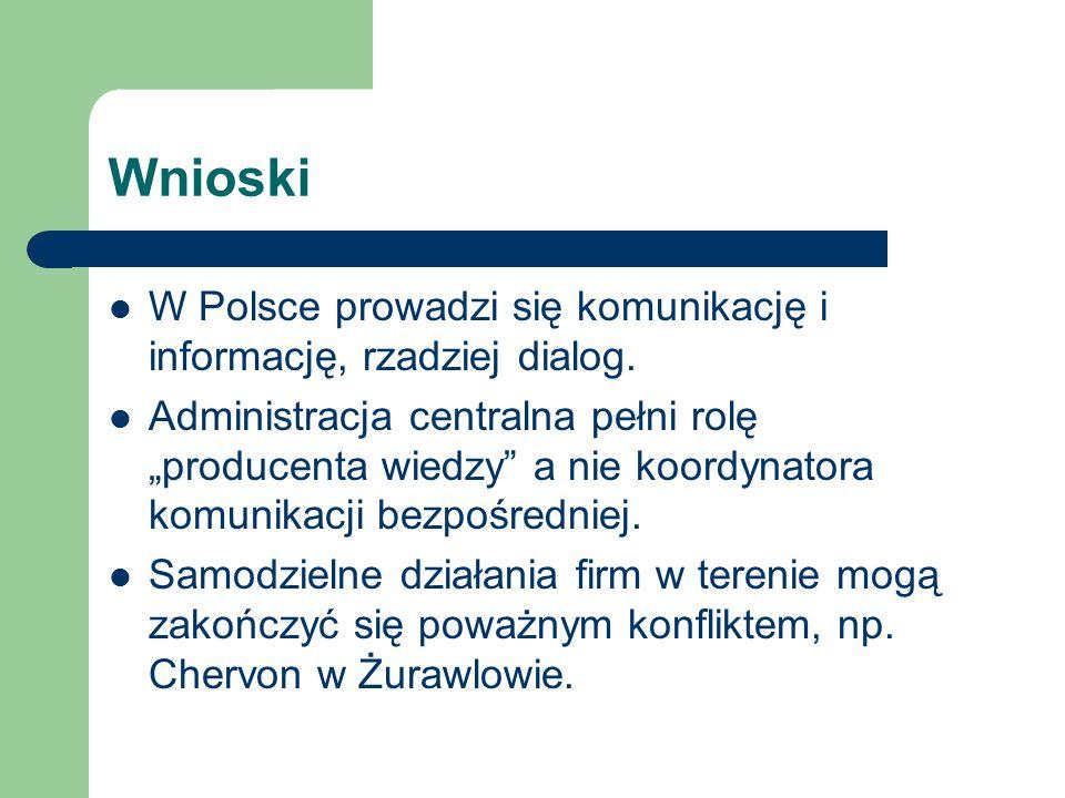 """Wnioski W Polsce prowadzi się komunikację i informację, rzadziej dialog. Administracja centralna pełni rolę """"producenta wiedzy"""" a nie koordynatora kom"""