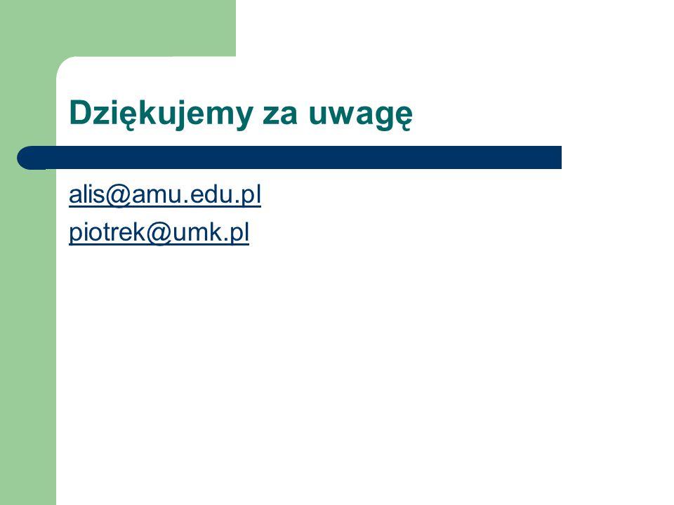 Dziękujemy za uwagę alis@amu.edu.pl piotrek@umk.pl