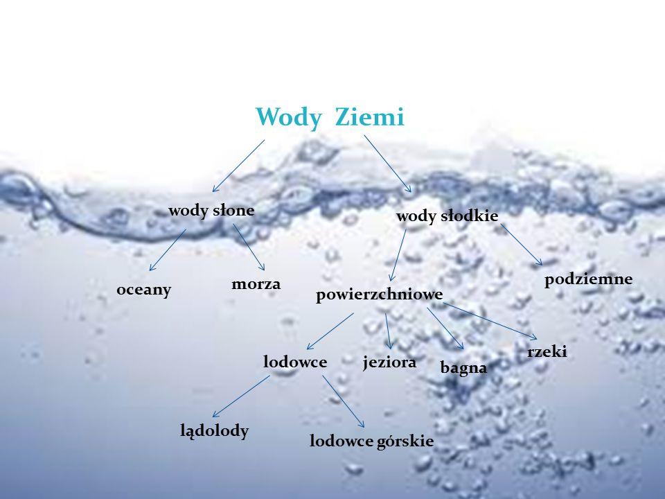 Wody Ziemi wody słone oceany morza wody słodkie powierzchniowe lodowce lądolody lodowce górskie jeziora bagna rzeki podziemne