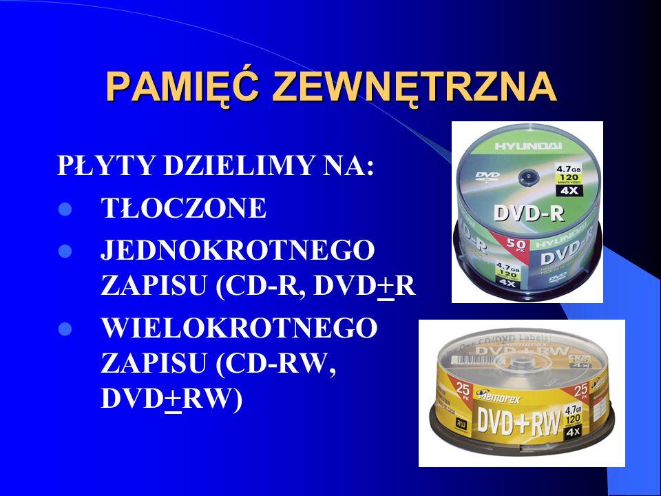 PŁYTY DZIELIMY NA: TŁOCZONE JEDNOKROTNEGO ZAPISU (CD-R, DVD+R WIELOKROTNEGO ZAPISU (CD-RW, DVD+RW)