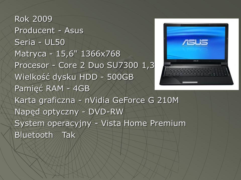 Rok 2009 Producent - Asus Seria - UL50 Matryca - 15,6