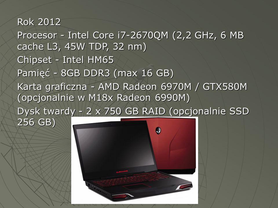 Rok 2012 Procesor - Intel Core i7-2670QM (2,2 GHz, 6 MB cache L3, 45W TDP, 32 nm) Chipset - Intel HM65 Pamięć - 8GB DDR3 (max 16 GB) Karta graficzna -