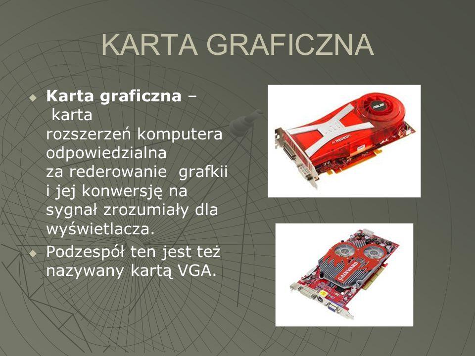 KARTA GRAFICZNA  Karta graficzna – karta rozszerzeń komputera odpowiedzialna za rederowanie grafkii i jej konwersję na sygnał zrozumiały dla wyświetl