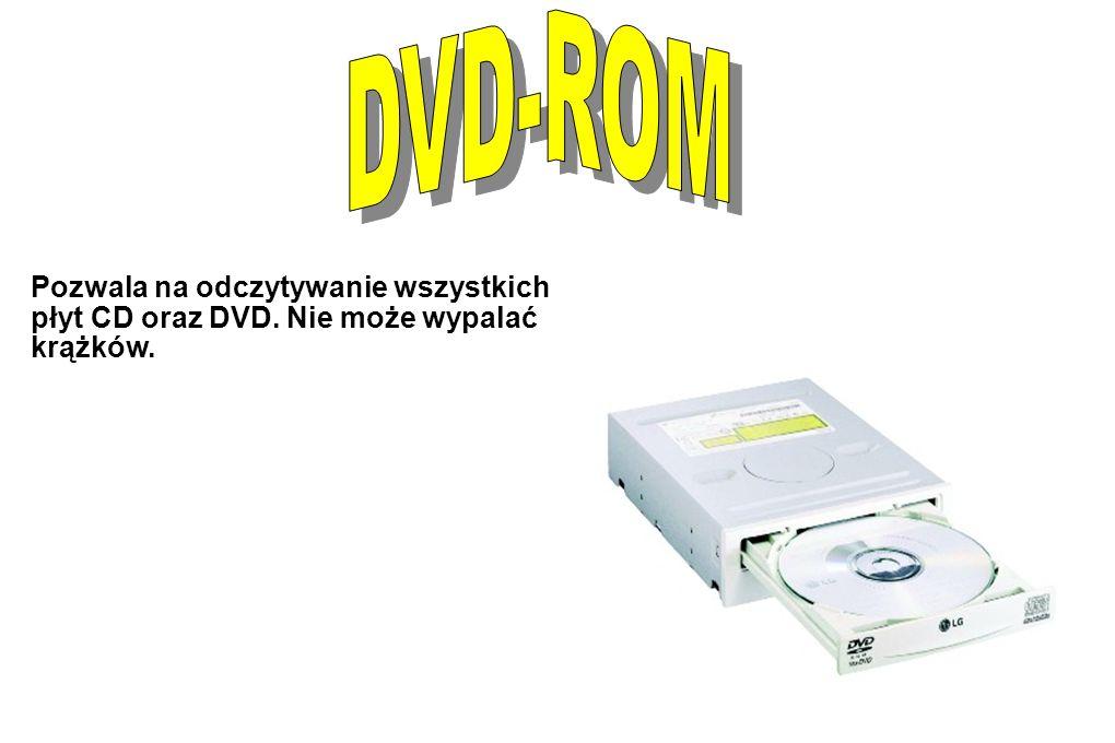 Pozwala na odczytywanie wszystkich płyt CD oraz DVD. Nie może wypalać krążków.