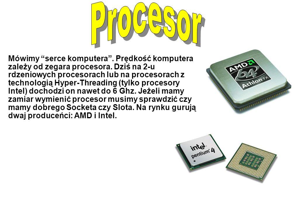 """Mówimy """"serce komputera"""". Prędkość komputera zależy od zegara procesora. Dziś na 2-u rdzeniowych procesorach lub na procesorach z technologią Hyper-Th"""