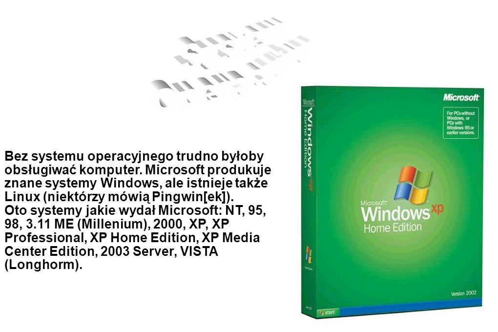 Bez systemu operacyjnego trudno byłoby obsługiwać komputer. Microsoft produkuje znane systemy Windows, ale istnieje także Linux (niektórzy mówią Pingw
