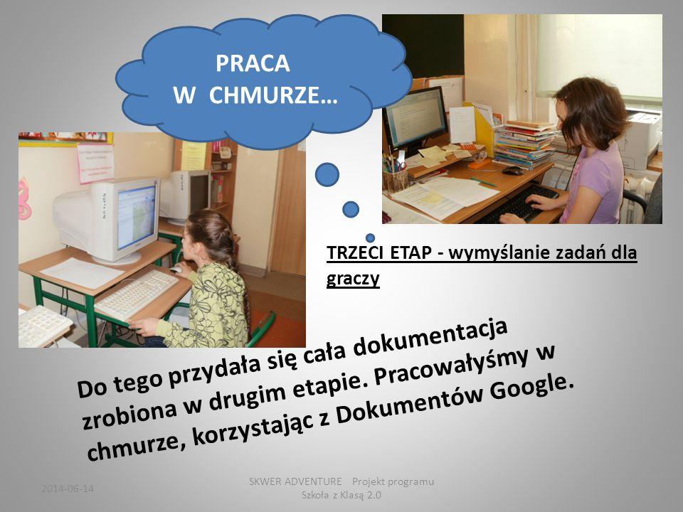 TRZECI ETAP - wymyślanie zadań dla graczy Do tego przydała się cała dokumentacja zrobiona w drugim etapie.