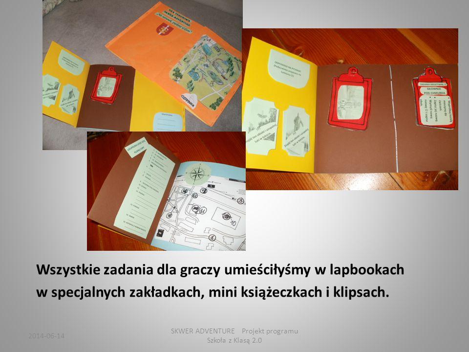 Wszystkie zadania dla graczy umieściłyśmy w lapbookach w specjalnych zakładkach, mini książeczkach i klipsach.