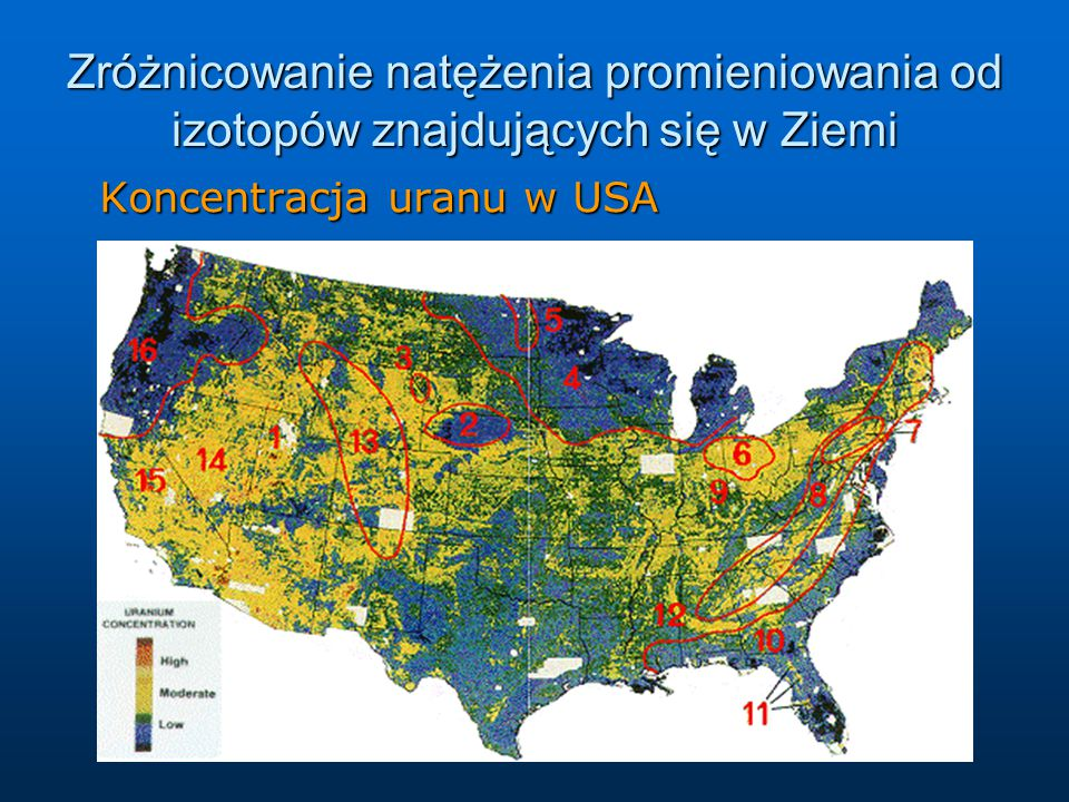 Zróżnicowanie natężenia promieniowania od izotopów znajdujących się w Ziemi Koncentracja uranu w USA