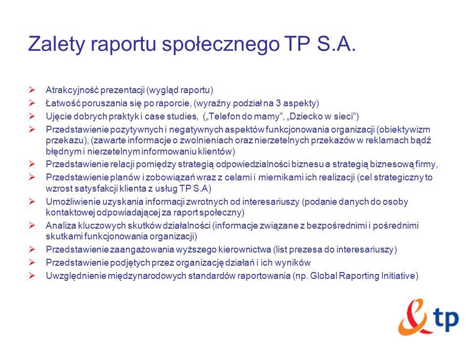 Zalety raportu społecznego TP S.A.