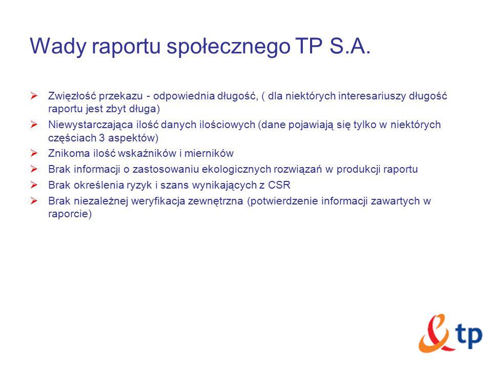 Wady raportu społecznego TP S.A.