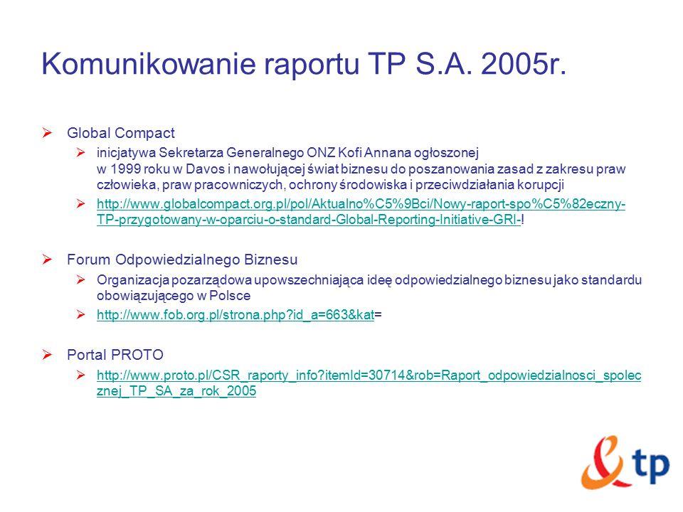 Komunikowanie raportu TP S.A. 2005r.