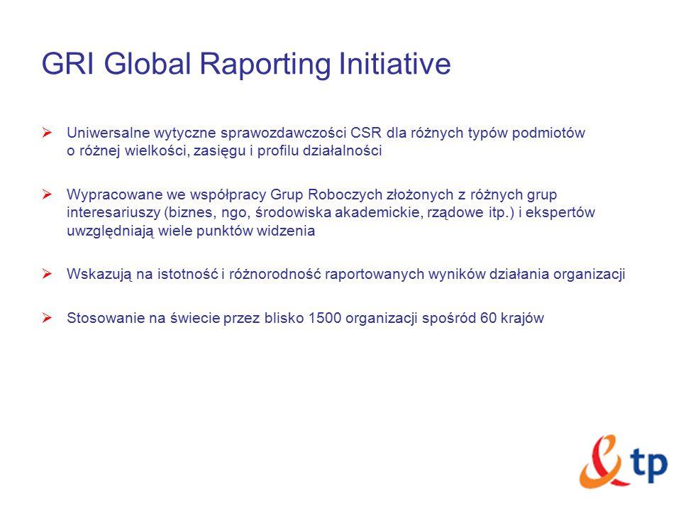 GRI Global Raporting Initiative  Uniwersalne wytyczne sprawozdawczości CSR dla różnych typów podmiotów o różnej wielkości, zasięgu i profilu działalności  Wypracowane we współpracy Grup Roboczych złożonych z różnych grup interesariuszy (biznes, ngo, środowiska akademickie, rządowe itp.) i ekspertów uwzględniają wiele punktów widzenia  Wskazują na istotność i różnorodność raportowanych wyników działania organizacji  Stosowanie na świecie przez blisko 1500 organizacji spośród 60 krajów