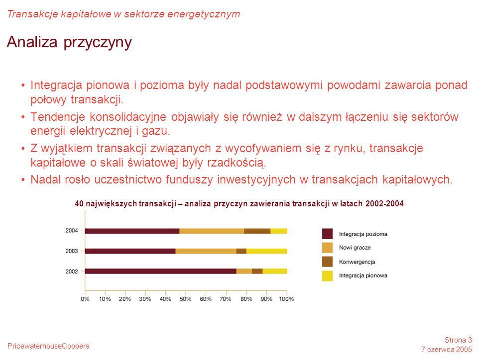 PricewaterhouseCoopers Transakcje kapitałowe w sektorze energetycznym Strona 3 7 czerwca 2005 Analiza przyczyny Integracja pionowa i pozioma były nada