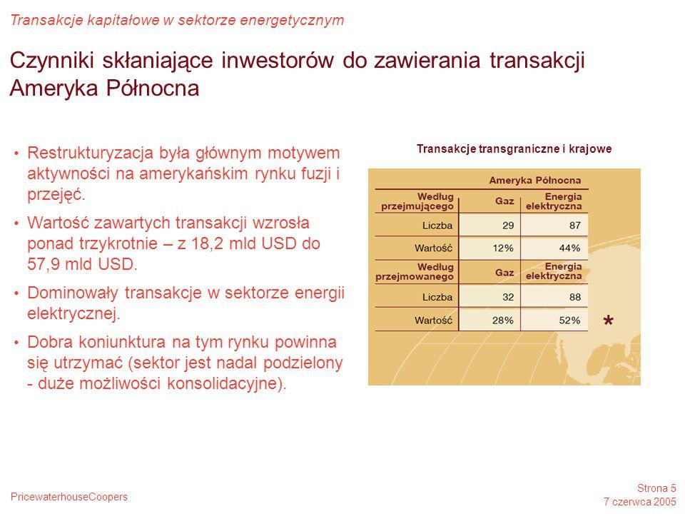 PricewaterhouseCoopers Transakcje kapitałowe w sektorze energetycznym Strona 5 7 czerwca 2005 Czynniki skłaniające inwestorów do zawierania transakcji