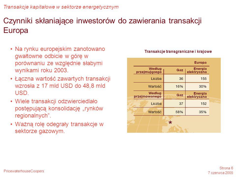 PricewaterhouseCoopers Transakcje kapitałowe w sektorze energetycznym Strona 6 7 czerwca 2005 Czynniki skłaniające inwestorów do zawierania transakcji Europa Na rynku europejskim zanotowano gwałtowne odbicie w górę w porównaniu ze względnie słabymi wynikami roku 2003.