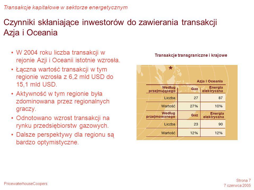 PricewaterhouseCoopers Transakcje kapitałowe w sektorze energetycznym Strona 7 7 czerwca 2005 Czynniki skłaniające inwestorów do zawierania transakcji