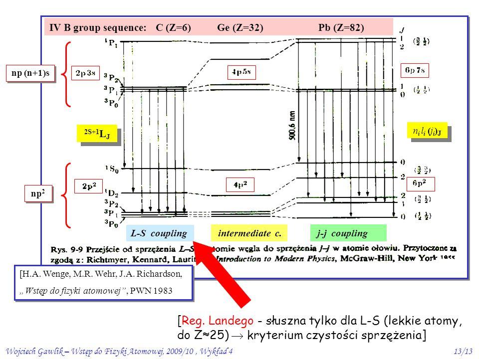 Wojciech Gawlik – Wstęp do Fizyki Atomowej, 2009/10, Wykład 413/13 [H.A.