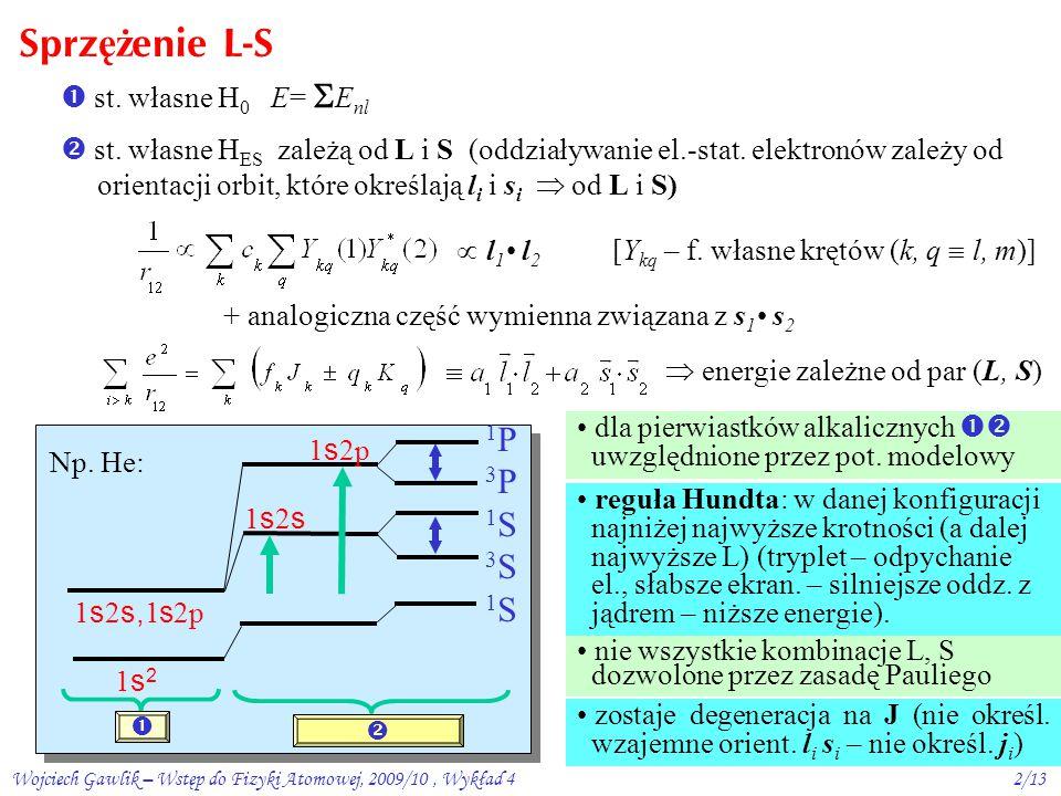 Wojciech Gawlik – Wstęp do Fizyki Atomowej, 2009/10, Wykład 42/13 Sprz ęż enie L-S  st.