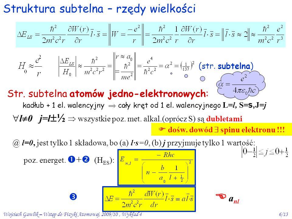 Wojciech Gawlik – Wstęp do Fizyki Atomowej, 2009/10, Wykład 46/13 Struktura subtelna – rzędy wielkości (str.