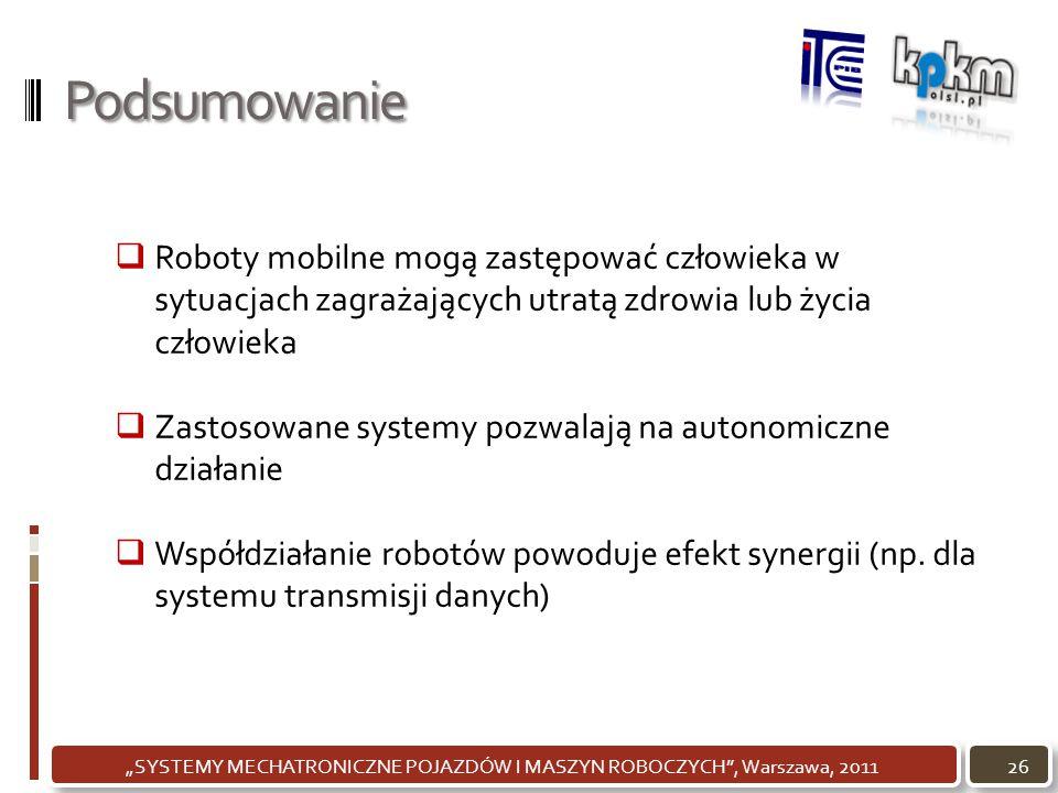 """Podsumowanie 26""""SYSTEMY MECHATRONICZNE POJAZDÓW I MASZYN ROBOCZYCH"""", Warszawa, 2011  Roboty mobilne mogą zastępować człowieka w sytuacjach zagrażając"""