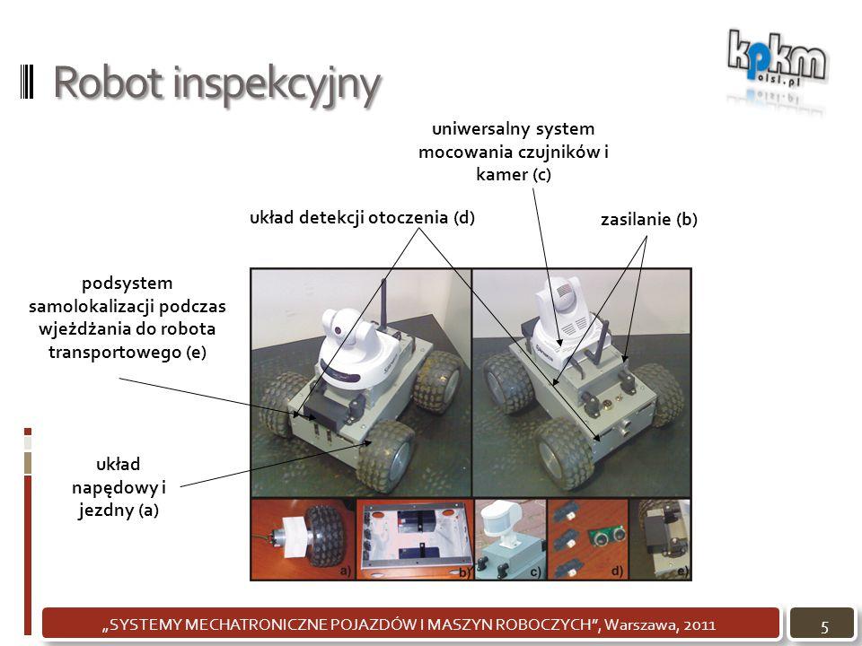 """Robot inspekcyjny 5""""SYSTEMY MECHATRONICZNE POJAZDÓW I MASZYN ROBOCZYCH"""", Warszawa, 2011 układ napędowy i jezdny (a) zasilanie (b) uniwersalny system m"""