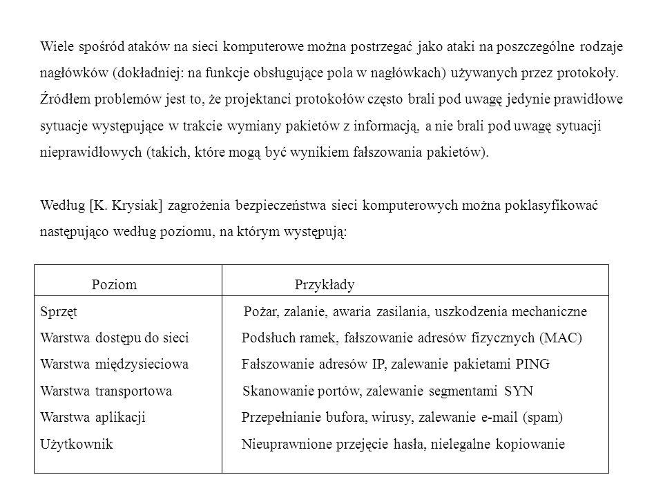 Wiele spośród ataków na sieci komputerowe można postrzegać jako ataki na poszczególne rodzaje nagłówków (dokładniej: na funkcje obsługujące pola w nag