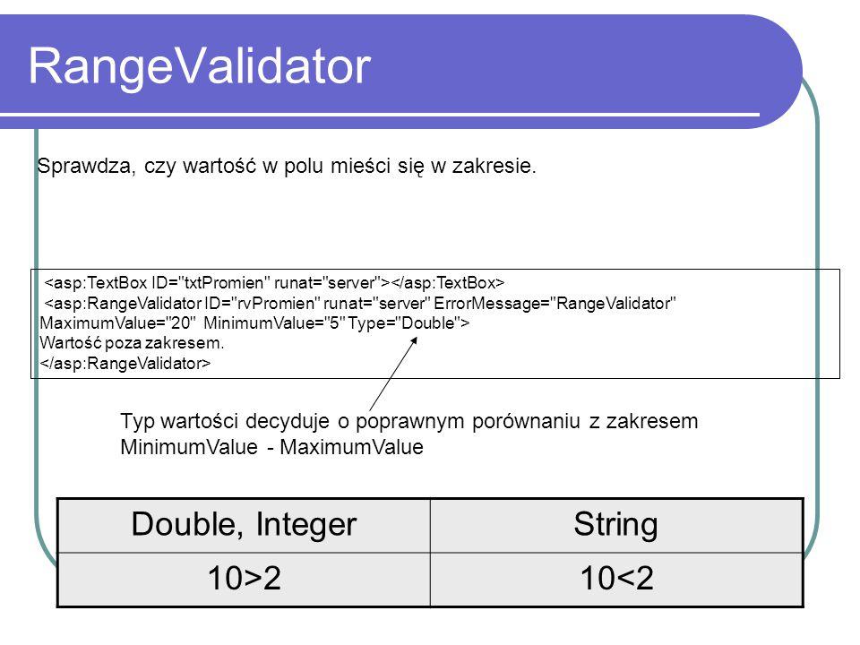 RangeValidator Wartość poza zakresem. Sprawdza, czy wartość w polu mieści się w zakresie.