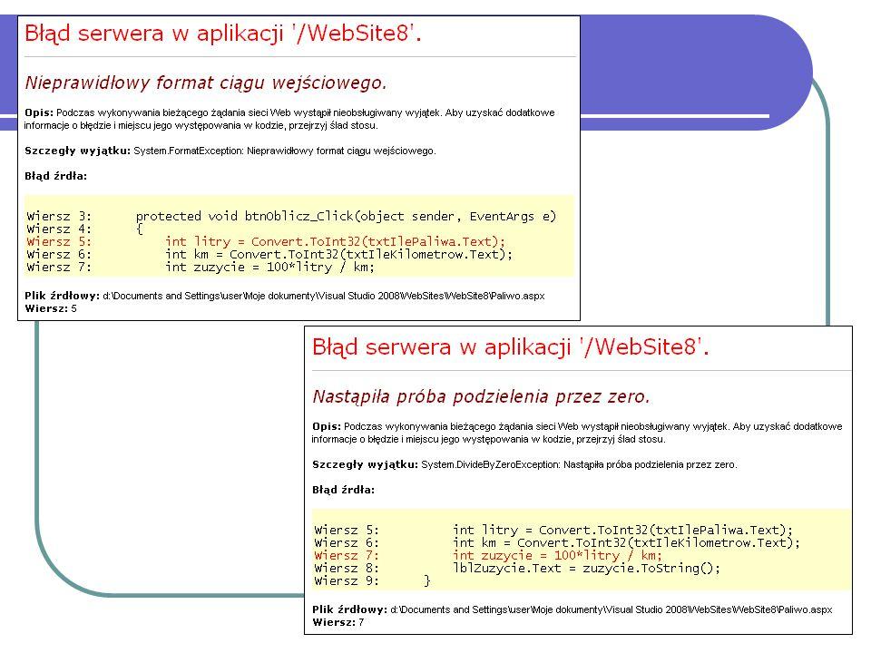 RequiredFieldValidator <asp:TextBox ID= txtPromien runat= server <asp:RequiredFieldValidator ID= rfvPromien runat= server ControlToValidate= txtPromien Text= Nie podałeś promienia /> Sprawdza, czy w polu wpisano jakąkolwiek wartość.