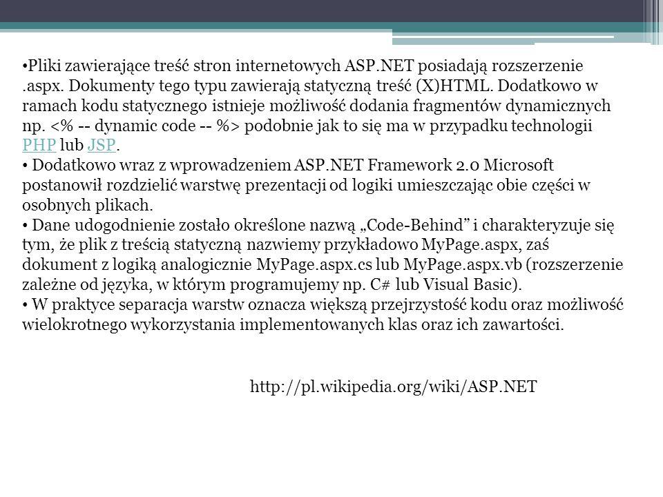 Pliki zawierające treść stron internetowych ASP.NET posiadają rozszerzenie.aspx. Dokumenty tego typu zawierają statyczną treść (X)HTML. Dodatkowo w ra
